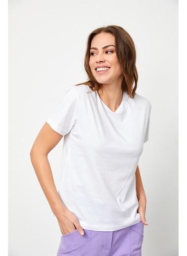 Setre Ekru Bisiklet Yaka Kısa Kol Basic T-Shirt Ekru